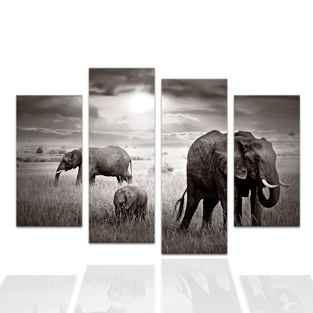 4 Pieces African Grassland Elephant Painting Photo Printed on Canvas ...