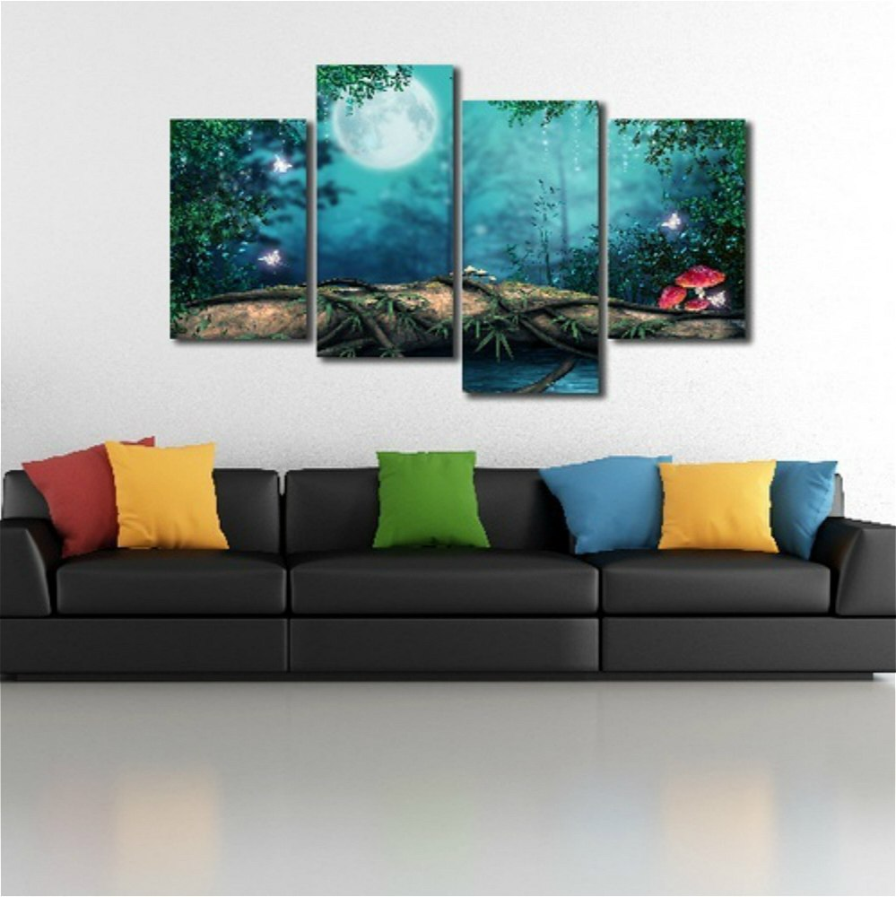 4panels Fantasy Forest Canvas Printing Painting For Bedroom Wall Decor Giclee Print Canvas Wall Art Home Decoration Dropshipping