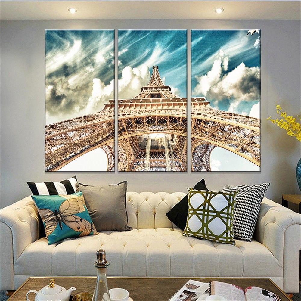 Eiffel Tower 3 Panels Wall Art Canvas