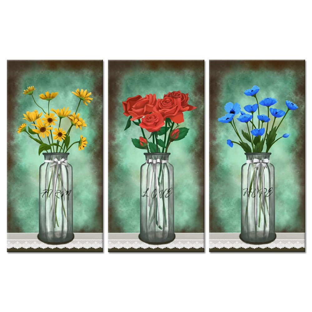 Vintage Flowers 3 Pieces Canvas Wall Art Daisy Red Rose Blue Poppies ...